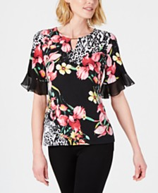 JM Collection Printed Keyhole Ruffle-Sleeve Top, Created for Macy's