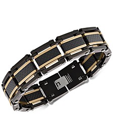 Two-Tone Square Link Bracelet in Black & Gold Ion-Plated Stainless Steel & Black Carbon Fiber, Created for Macy's