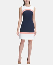 Tommy Hilfiger Sleeveless Colorblock Sheath Dress