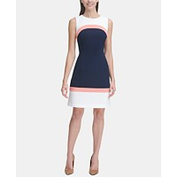 Tommy Hilfiger Women's Sleeveless Colorblock Sheath (Navy/White/Coral)