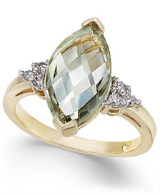 Mint Quartz (3-3/8 ct. t.w.) & Diamond (1/8 ct. t.w.) Statement Ring in 14k Gold