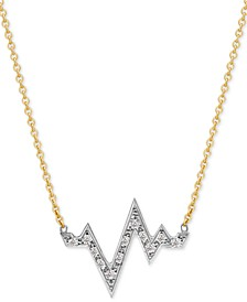 "Diamond Heartbeat Pendant Necklace (1/8 ct. t.w.) in 14k Gold-Plate Over Sterling Silver & Sterling Silver, 16"" + 2"" extender"
