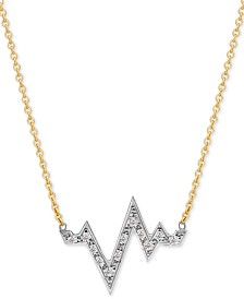 "Sarah Chloe Diamond Heartbeat Pendant Necklace (1/8 ct. t.w.) in 14k Gold-Plate Over Sterling Silver & Sterling Silver, 16"" + 2"" extender"