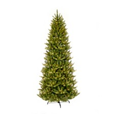 Puleo International 10 ft Pre-lit Slim Franklin Fir Artificial Christmas Tree 900 UL listed Clear Lights