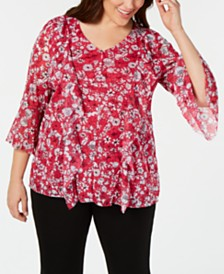 Alfani Plus Size Printed Ruffled Mesh Top, Created for Macy's