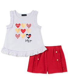 Tommy Hilfiger Toddler Girls Ruffle Tank Top and Textured Shorts Set