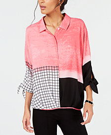 Alfani Mixed-Print Roll-Front Blouse, Created for Macy's
