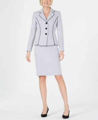 Le Suit Women/'s Printed Stand Collar Skirt Suit