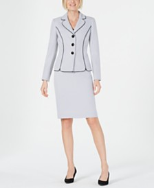Le Suit Three-Button Dot-Print Skirt Suit