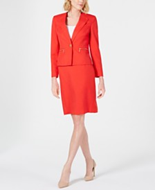 Le Suit One-Button Zipper-Pocket Skirt Suit