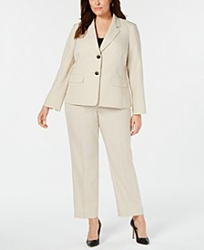 Plus Size Striped Two-Button Pantsuit