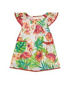 Masala Baby Girls Flutter Dress Flamingo Island