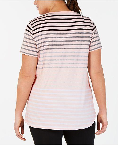 ed914832 Calvin Klein Plus Size Striped Pocket T-Shirt & Reviews - Tops ...