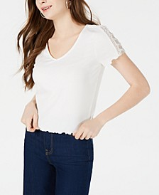 Juniors' Lace-Trimmed Rib-Knit T-Shirt, Created for Macy's