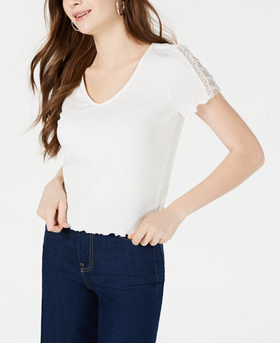 American Rag Juniors' Lace-Trimmed Rib-Knit T-Shirt, Created for Macy's