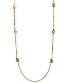 "Charter Club Gold-Tone Pavé Infinity Station Necklace, 42"" + 2"" extender, Created for Macy's"