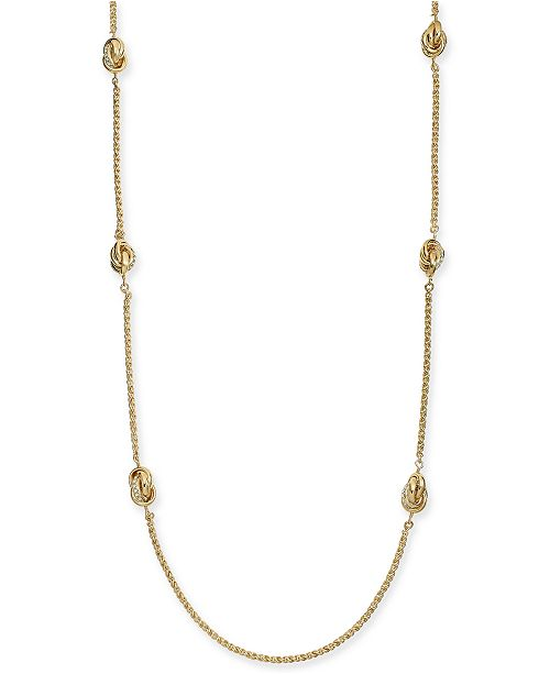 """Charter Club Gold-Tone Pavé Infinity Station Necklace, 42"""" + 2"""" extender, Created for Macy's"""