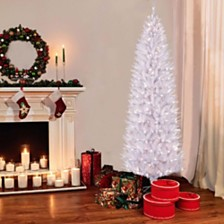 Puleo International 7.5 ft Pre-Lit White Pencil Franklin Fir Artificial Christmas Tree with 350 UL-Listed Clear Lights