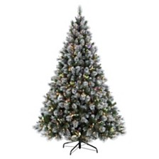 Puleo International 7.5 ft Pre-Lit Fiber Optic Premium Winter Wonderland Artificial Christmas Tree with 500 UL-Listed Clear Lights