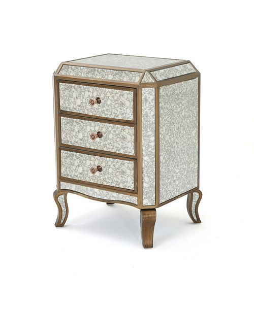 Noble House Nicos Mirrored 3 Drawer Cabinet, Quick Ship