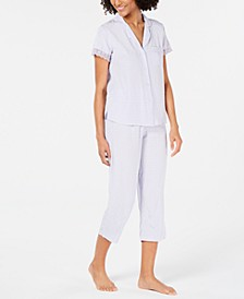 Lace-Trim Top and Cropped Pants Jacquard Dot Pajama Set