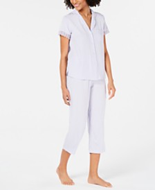 Miss Elaine Lace-Trim Top and Cropped Pants Jacquard Dot Pajama Set
