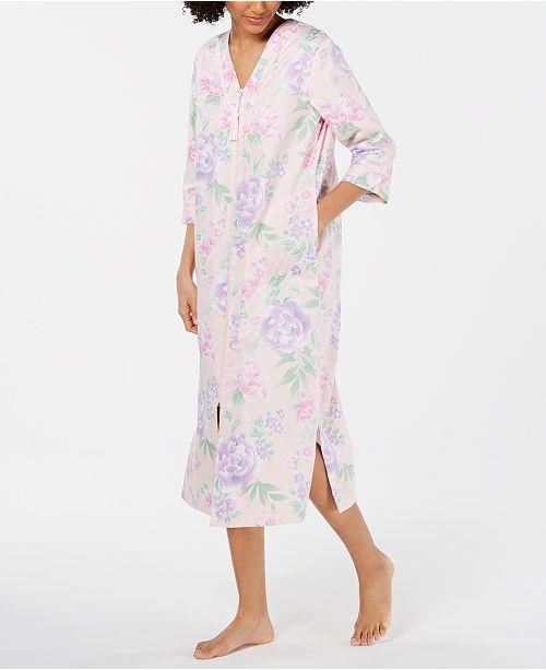Miss Elaine Printed Cotton Sateen Long Zip Robe