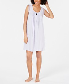 Miss Elaine Lace-Trim Jacquard Dot Nightgown