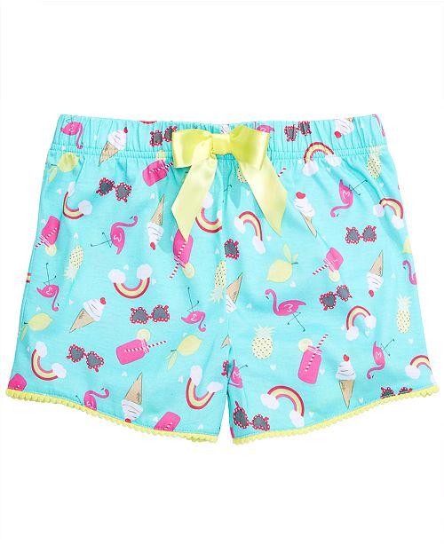 Max & Olivia Little & Big Girls Rainbow-Print Pajama Shorts, Created for Macy's