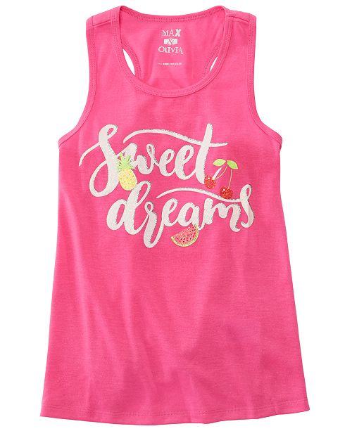 Max & Olivia Little & Big Girls Dreams-Print Pajama Tank Top, Created for Macy's