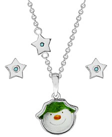 Snowman Pendant Necklace and Star Earring Set