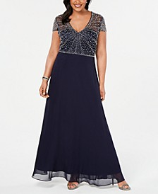 Plus Size V-Neck Beaded Gown