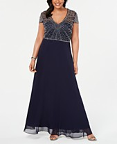b2f6ae3fadfe Betsy   Adam Plus Size V-Neck Beaded Gown