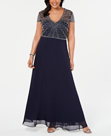 Betsy & Adam Plus Size V-Neck Beaded Gown