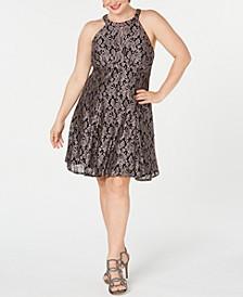 Plus Size Lace & Glitter A-Line Dress