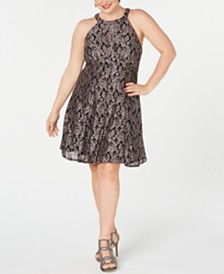 Nightway Plus Size Lace & Glitter A-Line Dress