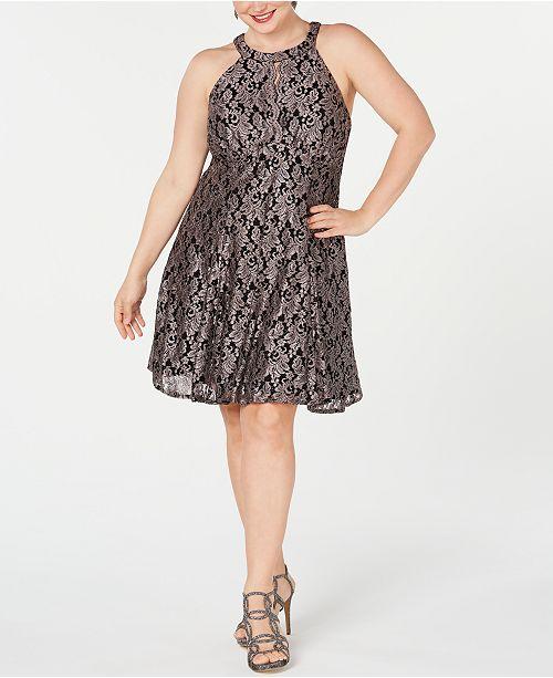 Nightway Plus Size Lace & Glitter A-Line Dress