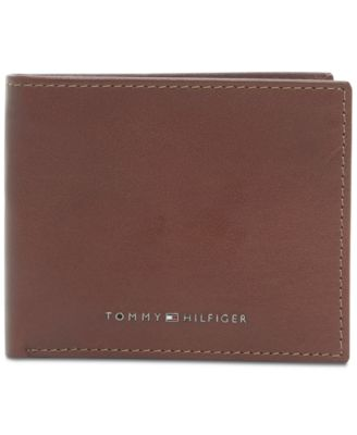 TOMMY HILFIGER CAMBRIDGE CREDIT CARD BILLFOLD TAN BROWN LEATHER MEN/'S WALLET