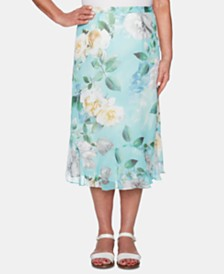 Alfred Dunner Petite Versailles Printed Midi Skirt