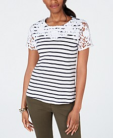 Cotton Crochet Striped Top, Created for Macy's
