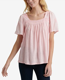 Lucky Brand Embroidered Square-Neck Top