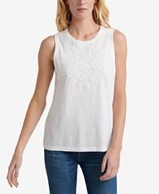 Lucky Brand Cotton Appliqué Tank Top