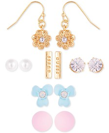 GUESS Gold-Tone 6-Pc. Set Crystal & Imitation Pearl Flower-Theme Earrings