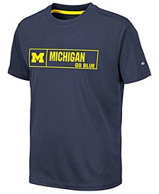 Big Boys Michigan Wolverines Boxed Logo Polyester T-Shirt