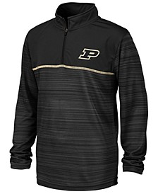 Big Boys Purdue Boilermakers Striped Mesh Quarter-Zip Pullover