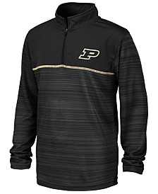 Colosseum Big Boys Purdue Boilermakers Striped Mesh Quarter-Zip Pullover