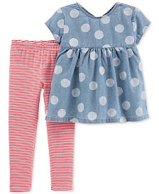 Carter's Toddler Girls 2-Pc. Chambray Tunic & Striped Leggings Set