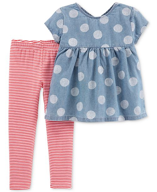 917ce461e Carter s Toddler Girls 2-Pc. Chambray Tunic   Striped Leggings Set ...