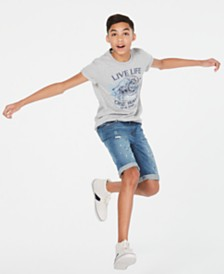 Epic Threads Big Boys Live Life T-Shirt & Linden Denim Shorts, Created for Macy's