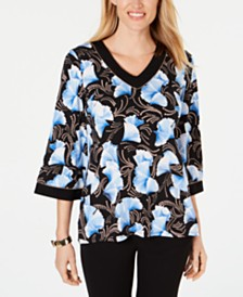 JM Collection Printed Embellished Tunic Top, Created for Macy's
